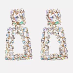 Zara Hollowed Out Crystal Drop Earrings!